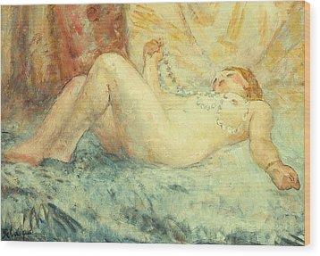 Reclining Nude Wood Print by Henri Lebasque