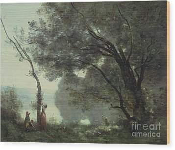Recollections Of Mortefontaine Wood Print by Jean Baptiste Corot