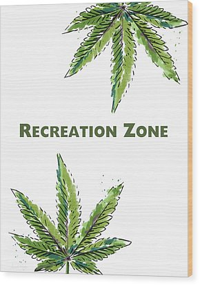Wood Print featuring the mixed media Recreation Zone Sign- Art By Linda Woods by Linda Woods