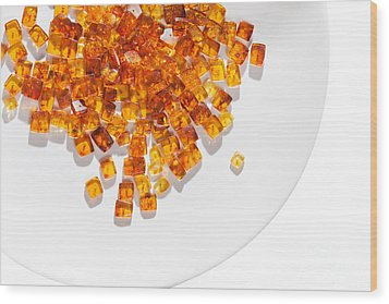 Wood Print featuring the photograph Rectangular Stones Yellow Amber  by Andrey  Godyaykin
