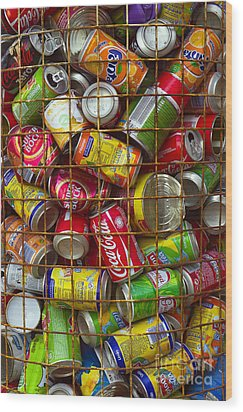 Recycling Cans Wood Print by Carlos Caetano
