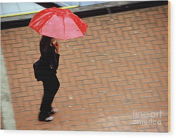 Red 1 - Umbrellas Series 1 Wood Print by Carlos Alvim