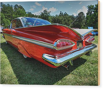 Red '59 Impala 001 Wood Print by Lance Vaughn