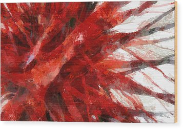 Red Abstract Wood Print by Russ Harris