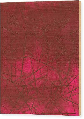 Red Abstract Shapes Wood Print by Rockstar Artworks