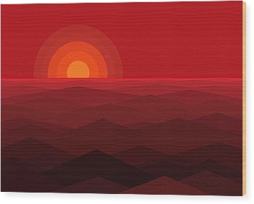 Red Abstract Sunset Wood Print