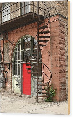 Red Alley Door Wood Print