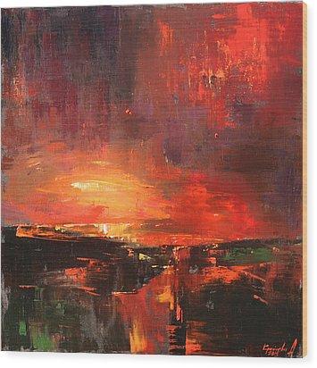 Wood Print featuring the painting Red by Anastasija Kraineva