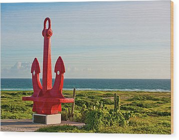 Red Anchor Wood Print