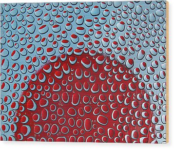 Wood Print featuring the photograph Red  And Blue Drops by Vladimir Kholostykh