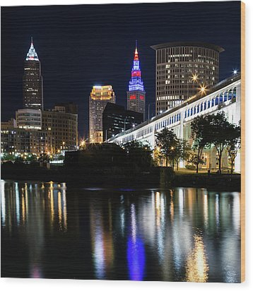 Wood Print featuring the photograph Red And Blue In Cleveland by Dale Kincaid