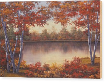 Red And Gold Wood Print by Diane Romanello