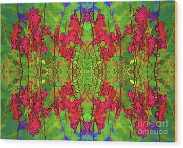 Wood Print featuring the digital art Red And Green Floral Abstract by Linda Phelps