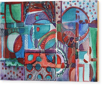 Red And Green Jazz Wood Print by Mindy Newman
