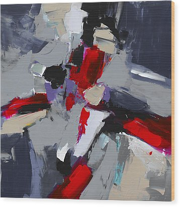 Wood Print featuring the painting Red And Grey Abstract By Elise Palmigiani by Elise Palmigiani