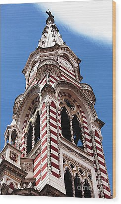 Red And White Church In Bogota Wood Print by John Rizzuto