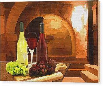 Red And White In The Cellar Wood Print by Elaine Plesser