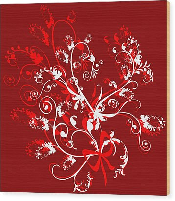 Red And White Ornaments Wood Print by Svetlana Sewell
