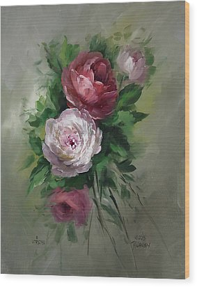 Red And White Roses Wood Print by David Jansen