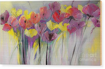 Red And Yellow Floral Field Painting Wood Print