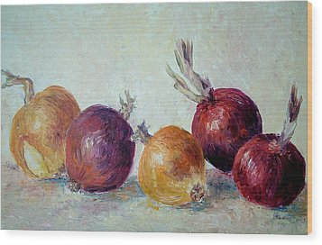 Red And Yellow Onions Wood Print