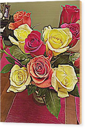 Red And Yellow Rose Bouquet Wood Print