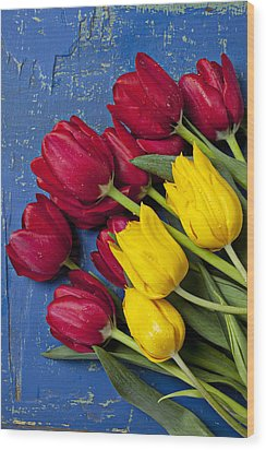 Red And Yellow Tulips Wood Print by Garry Gay