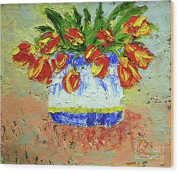 Red And Yellow Tulips Wood Print
