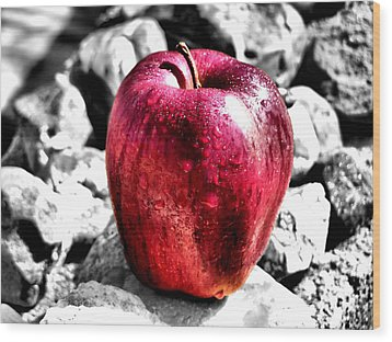 Red Apple Wood Print by Karen Scovill