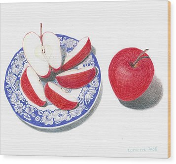 Red Apples Wood Print by Loraine LeBlanc