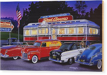 Red Arrow Diner Wood Print by Bruce Kaiser