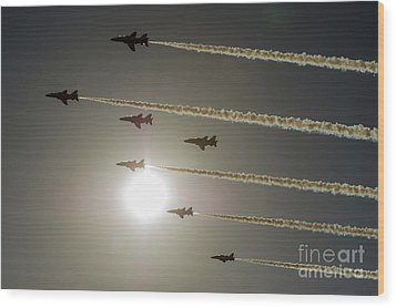 Wood Print featuring the photograph Red Arrows Backlit Arrival  by Gary Eason