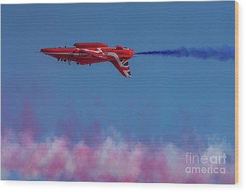 Wood Print featuring the photograph Red Arrows Hawk Inverted  by Gary Eason