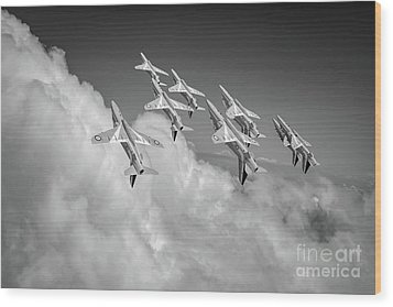 Wood Print featuring the photograph Red Arrows Sky High Bw Version by Gary Eason