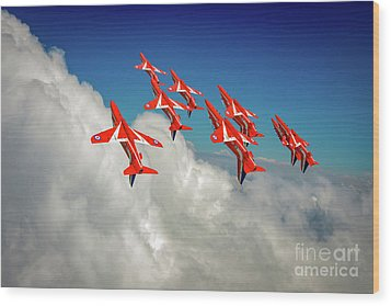 Wood Print featuring the photograph Red Arrows Sky High by Gary Eason