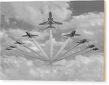 Wood Print featuring the photograph Red Arrows Smoke On Bw Version by Gary Eason