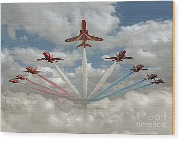 Wood Print featuring the photograph Red Arrows Smoke On  by Gary Eason