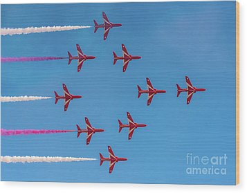 Wood Print featuring the photograph Red Arrows Typhoon Formation by Gary Eason