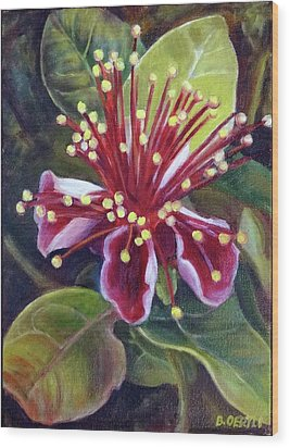 Pineapple Guava Flower Wood Print