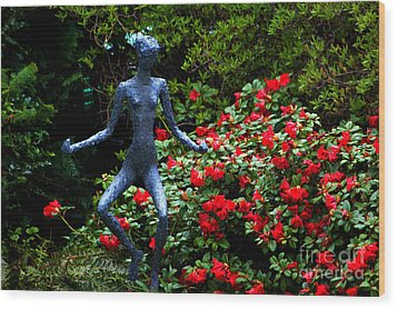 Wood Print featuring the photograph Red Azalea Lady by Susanne Van Hulst