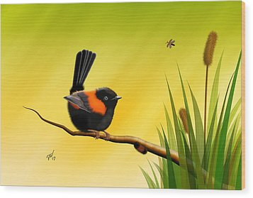 Wood Print featuring the digital art Red Backed Fairy Wren by John Wills