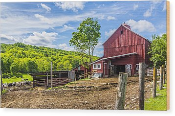 Wood Print featuring the photograph Red Barn And Cows by Paula Porterfield-Izzo