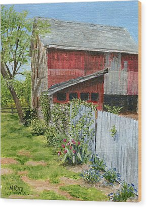 Red Barn And Gray Fence Wood Print