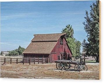 Red Barn And Wagon Wood Print