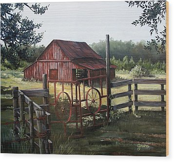 Red Barn At Sunrise Wood Print