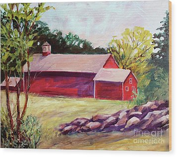 Wood Print featuring the painting Red Barn I by Priti Lathia