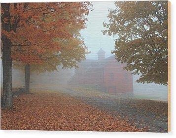 Red Barn In Autumn Fog Wood Print by John Burk