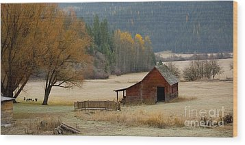 Red Barn In Autumn Wood Print by Idaho Scenic Images Linda Lantzy