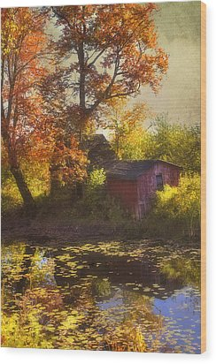 Red Barn In Autumn Wood Print by Joann Vitali