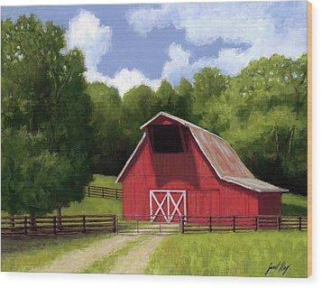 Red Barn In Franklin Tn Wood Print